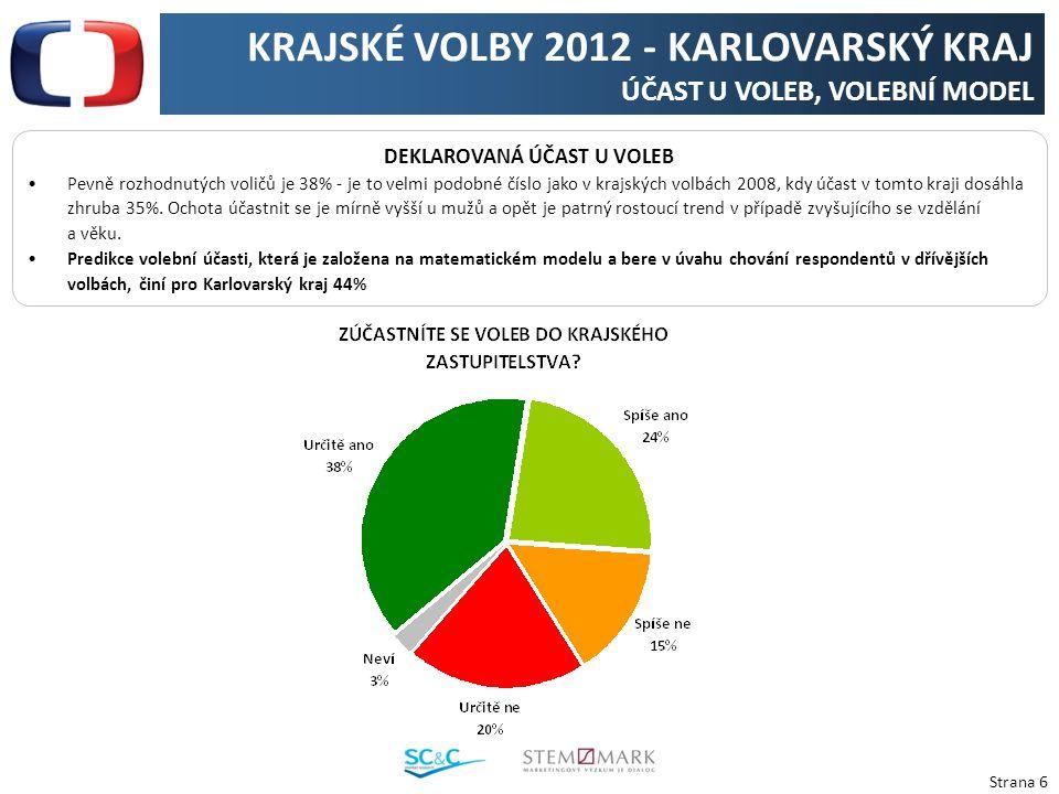 Strana 6 KRAJSKÉ VOLBY 2012 - KARLOVARSKÝ KRAJ ÚČAST U VOLEB, VOLEBNÍ MODEL DEKLAROVANÁ ÚČAST U VOLEB Pevně rozhodnutých voličů je 38% - je to velmi p