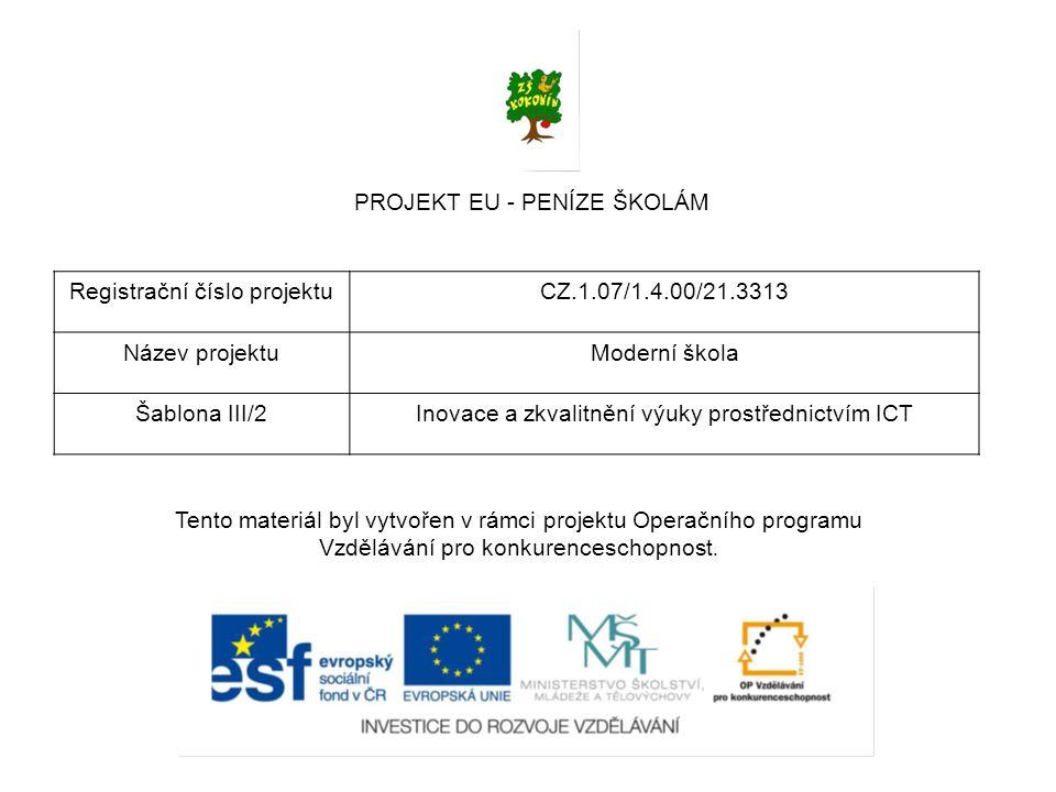 PROJEKT EU - PENÍZE ŠKOLÁM Registrační číslo projektuCZ.1.07/1.4.00/21.3313 Název projektuModerní škola Šablona III/2Inovace a zkvalitnění výuky prostřednictvím ICT Tento materiál byl vytvořen v rámci projektu Operačního programu Vzdělávání pro konkurenceschopnost.