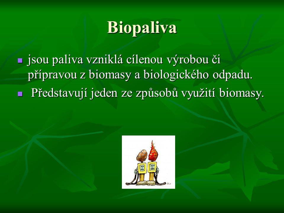 Biopaliva jsou paliva vzniklá cílenou výrobou či přípravou z biomasy a biologického odpadu. jsou paliva vzniklá cílenou výrobou či přípravou z biomasy