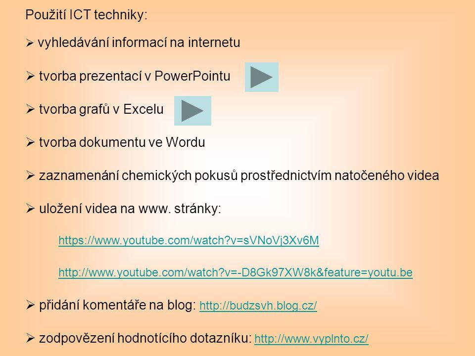 Použití ICT techniky:  vyhledávání informací na internetu  tvorba prezentací v PowerPointu  tvorba grafů v Excelu  tvorba dokumentu ve Wordu  zaz