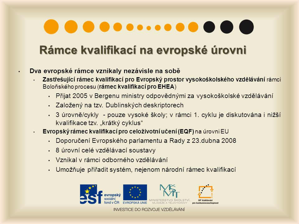 Rámce kvalifikací na evropské úrovni Dva evropské rámce vznikaly nezávisle na sobě Zastřešující rámec kvalifikací pro Evropský prostor vysokoškolského vzdělávání rámci Boloňského procesu (rámec kvalifikací pro EHEA) Přijat 2005 v Bergenu ministry odpovědnými za vysokoškolské vzdělávání Založený na tzv.