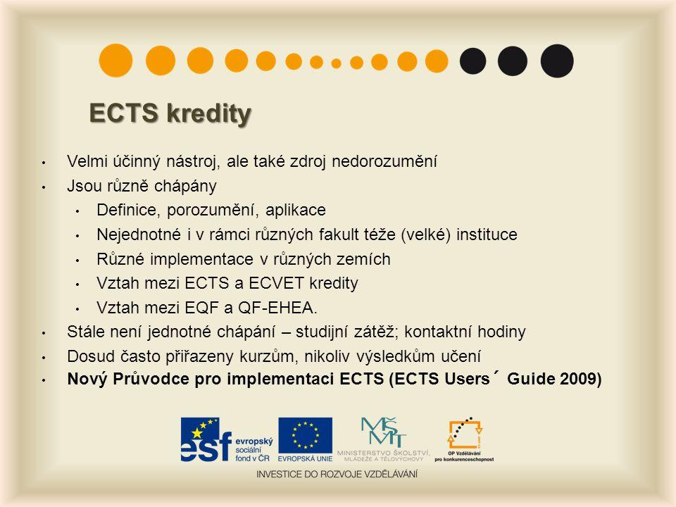 ECTS kredity Velmi účinný nástroj, ale také zdroj nedorozumění Jsou různě chápány Definice, porozumění, aplikace Nejednotné i v rámci různých fakult téže (velké) instituce Různé implementace v různých zemích Vztah mezi ECTS a ECVET kredity Vztah mezi EQF a QF-EHEA.