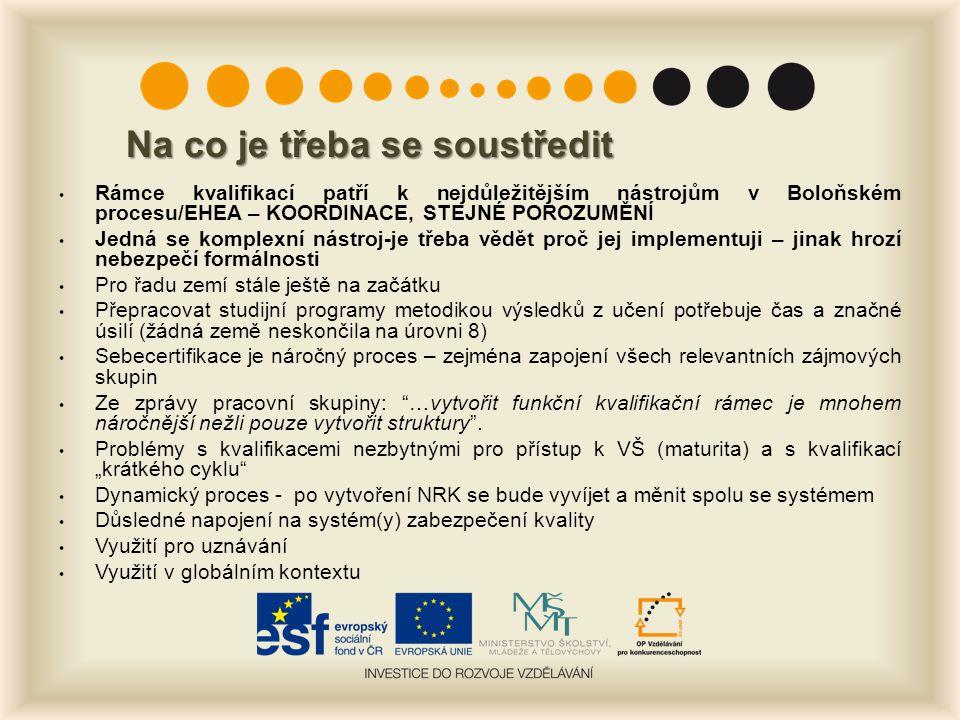 Na co je třeba se soustředit Rámce kvalifikací patří k nejdůležitějším nástrojům v Boloňském procesu/EHEA – KOORDINACE, STEJNÉ POROZUMĚNÍ Jedná se kom