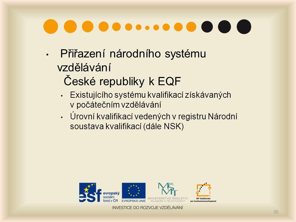 Přiřazení národního systému vzdělávání České republiky k EQF Existujícího systému kvalifikací získávaných v počátečním vzdělávání Úrovní kvalifikací vedených v registru Národní soustava kvalifikací (dále NSK) 30
