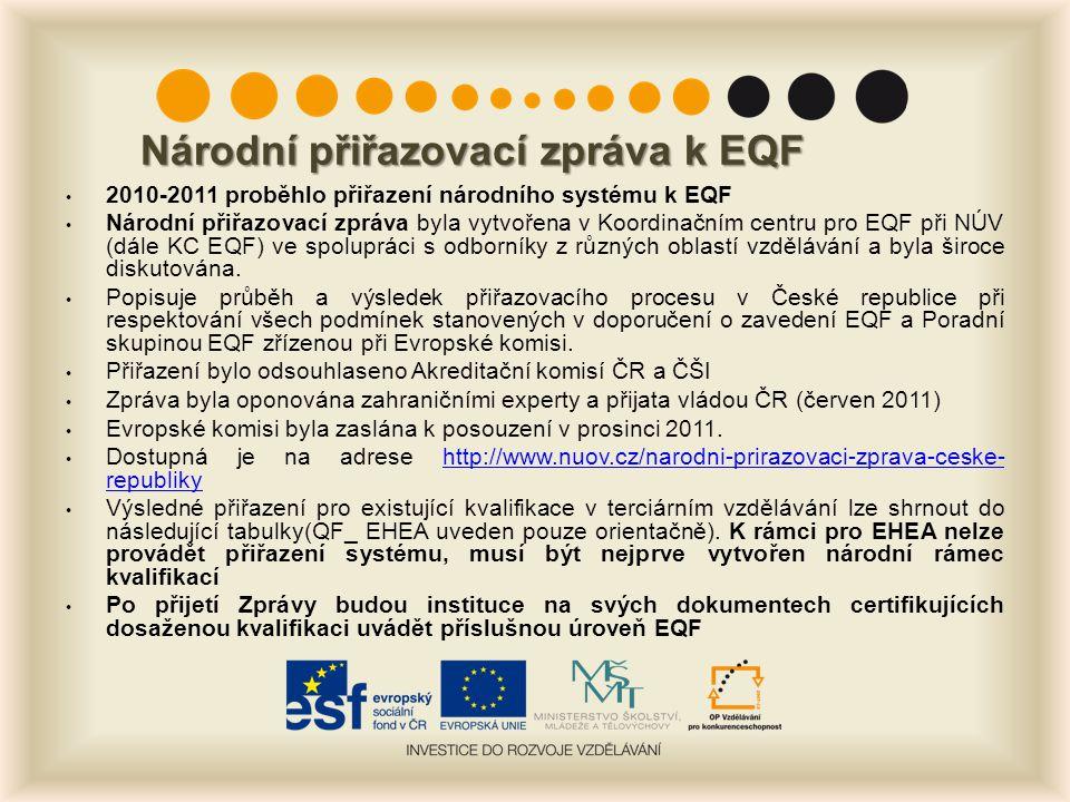 Národní přiřazovací zpráva k EQF 2010-2011 proběhlo přiřazení národního systému k EQF Národní přiřazovací zpráva byla vytvořena v Koordinačním centru pro EQF při NÚV (dále KC EQF) ve spolupráci s odborníky z různých oblastí vzdělávání a byla široce diskutována.
