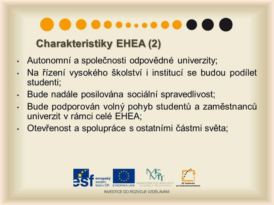 Charakteristiky EHEA (2) Autonomní a společnosti odpovědné univerzity; Na řízení vysokého školství i institucí se budou podílet studenti; Bude nadále posilována sociální spravedlivost; Bude podporován volný pohyb studentů a zaměstnanců univerzit v rámci celé EHEA; Otevřenost a spolupráce s ostatními částmi světa;