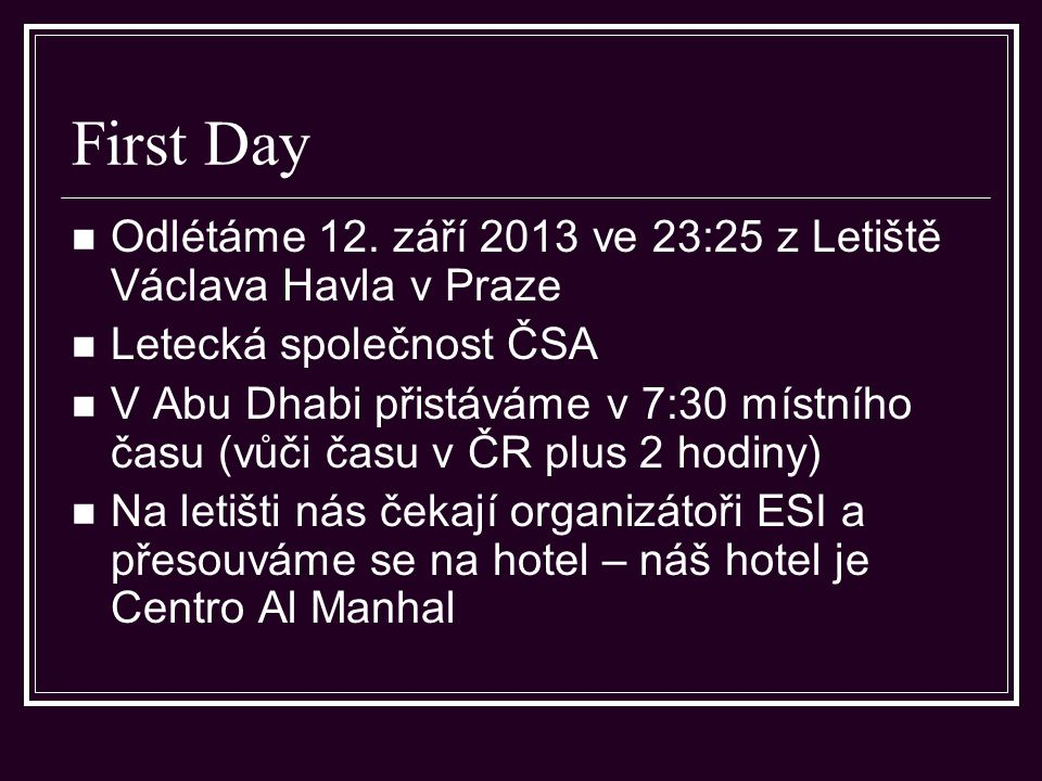 Abu Dhabi – First day – free time