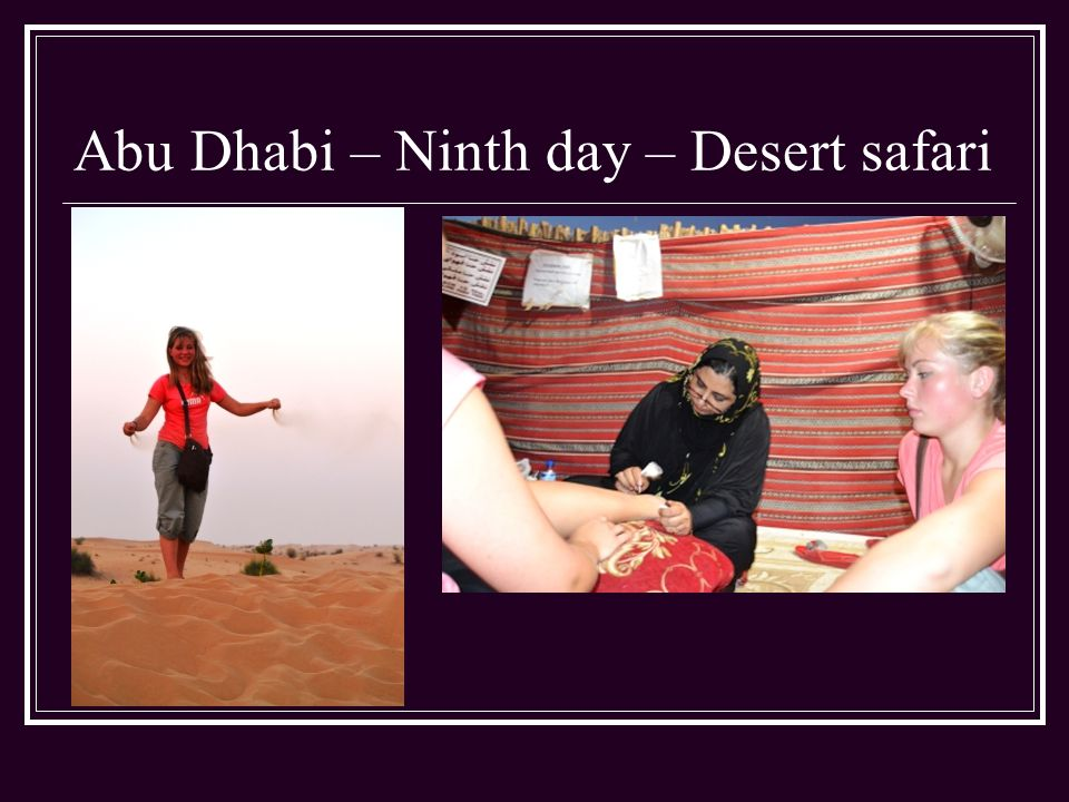 Abu Dhabi – Ninth day – Desert safari
