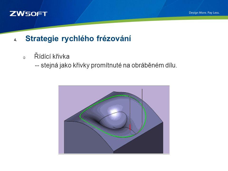 4. Strategie rychlého frézování ④ Řídící křivka -- stejná jako křivky promítnuté na obráběném dílu.