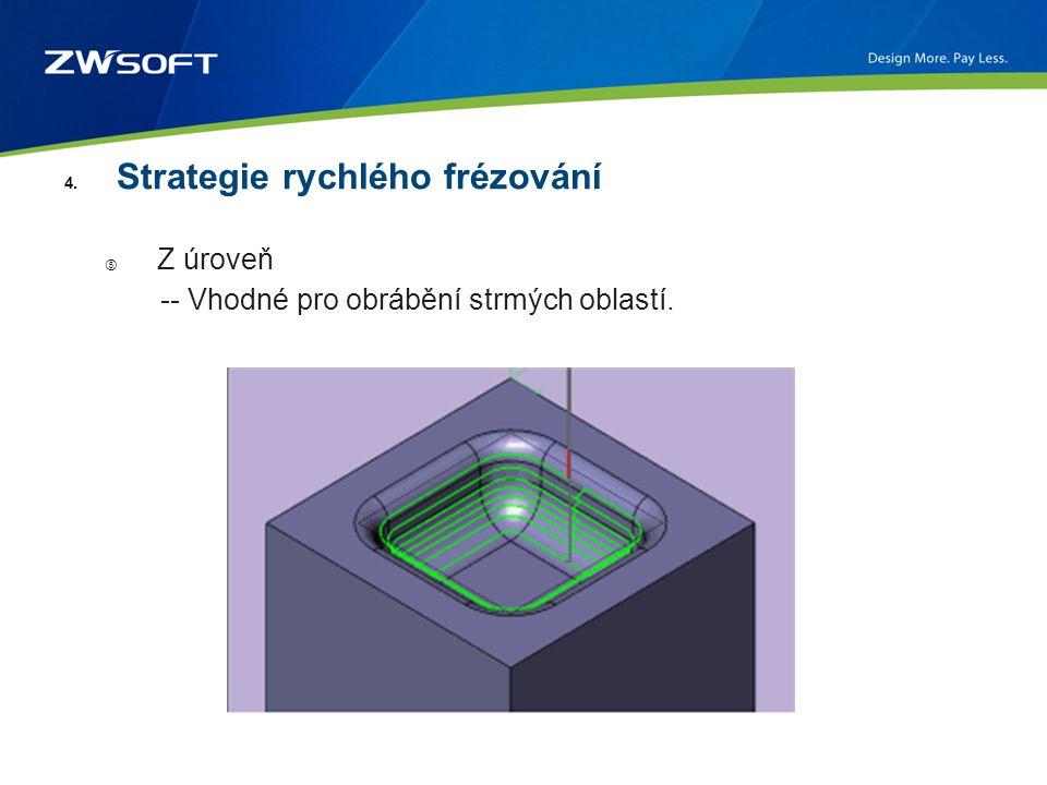 4. Strategie rychlého frézování ⑤ Z úroveň -- Vhodné pro obrábění strmých oblastí.