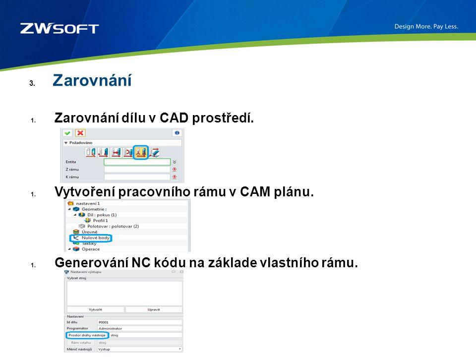 3. Zarovnání 1. Zarovnání dílu v CAD prostředí. 1. Vytvoření pracovního rámu v CAM plánu. 1. Generování NC kódu na základe vlastního rámu.