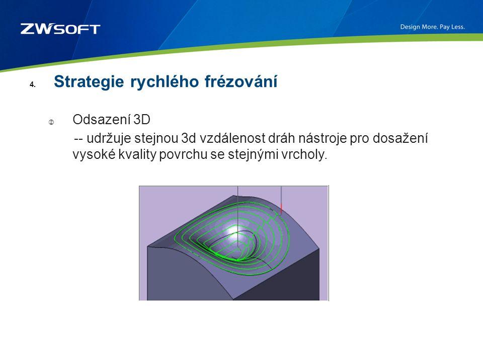 4. Strategie rychlého frézování ② Odsazení 3D -- udržuje stejnou 3d vzdálenost dráh nástroje pro dosažení vysoké kvality povrchu se stejnými vrcholy.