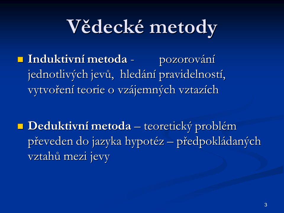 3 Vědecké metody Induktivní metoda -pozorování jednotlivých jevů, hledání pravidelností, vytvoření teorie o vzájemných vztazích Induktivní metoda -poz