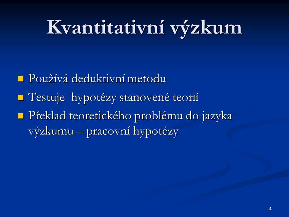 4 Kvantitativní výzkum Používá deduktivní metodu Používá deduktivní metodu Testuje hypotézy stanovené teorií Testuje hypotézy stanovené teorií Překlad