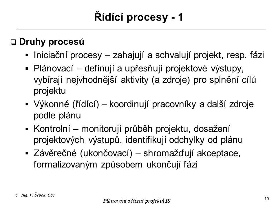 © Ing. V. Šebek, CSc. Plánování a řízení projektů IS 10 Řídící procesy - 1  Druhy procesů  Iniciační procesy – zahajují a schvalují projekt, resp. f