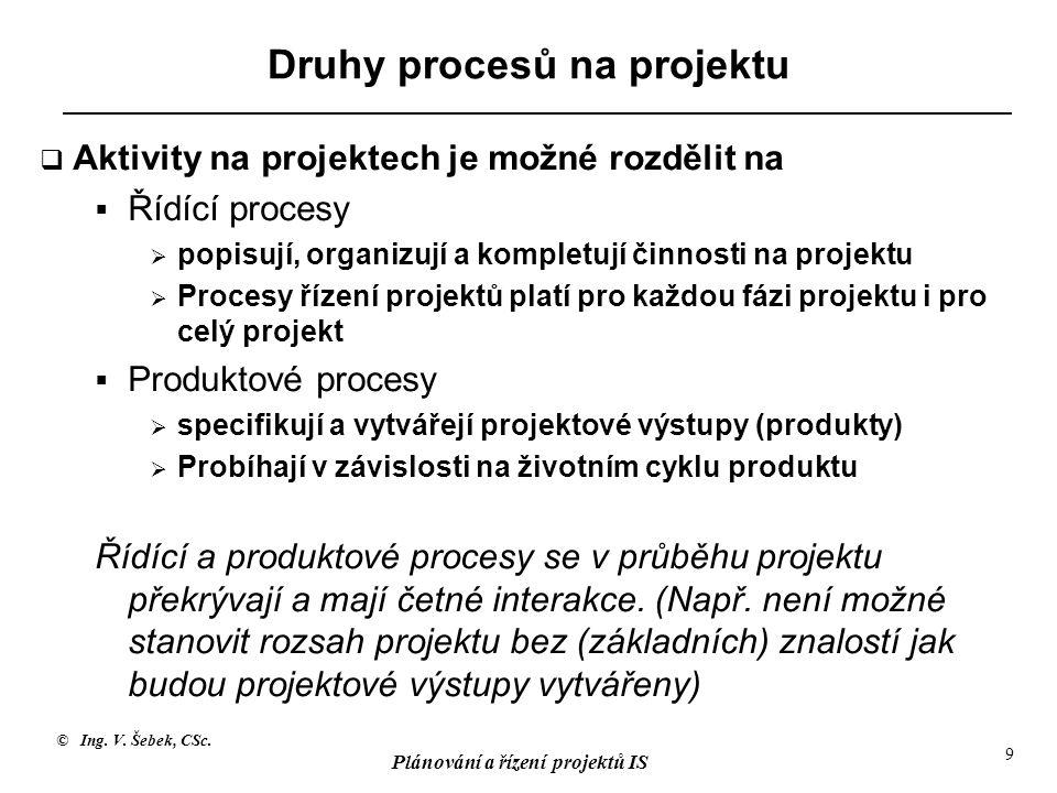 © Ing. V. Šebek, CSc. Plánování a řízení projektů IS 9 Druhy procesů na projektu  Aktivity na projektech je možné rozdělit na  Řídící procesy  popi
