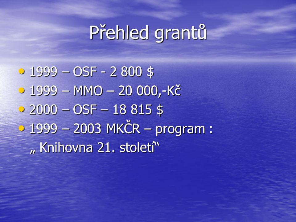 "Přehled grantů 1999 – OSF - 2 800 $ 1999 – OSF - 2 800 $ 1999 – MMO – 20 000,-Kč 1999 – MMO – 20 000,-Kč 2000 – OSF – 18 815 $ 2000 – OSF – 18 815 $ 1999 – 2003 MKČR – program : 1999 – 2003 MKČR – program : "" Knihovna 21."