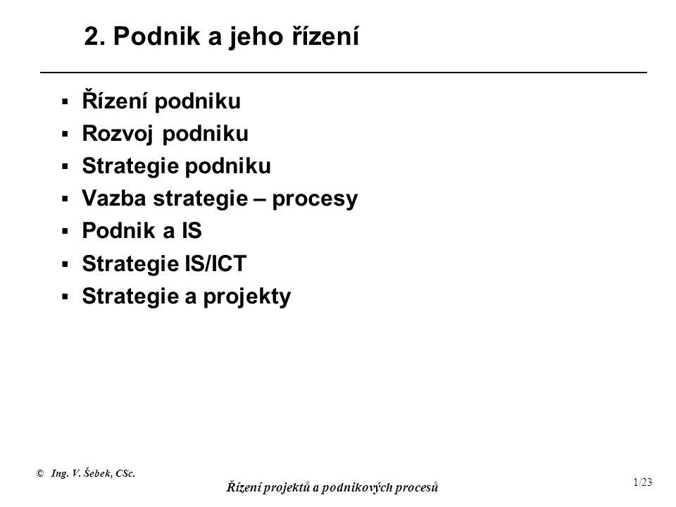 © Ing. V. Šebek, CSc. Řízení projektů a podnikových procesů 1/23 2. Podnik a jeho řízení  Řízení podniku  Rozvoj podniku  Strategie podniku  Vazba