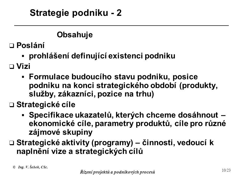 © Ing. V. Šebek, CSc. Řízení projektů a podnikových procesů 10/23 Strategie podniku - 2 Obsahuje  Poslání  prohlášení definující existenci podniku 