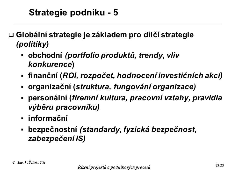 © Ing. V. Šebek, CSc. Řízení projektů a podnikových procesů 13/23 Strategie podniku - 5  Globální strategie je základem pro dílčí strategie (politiky