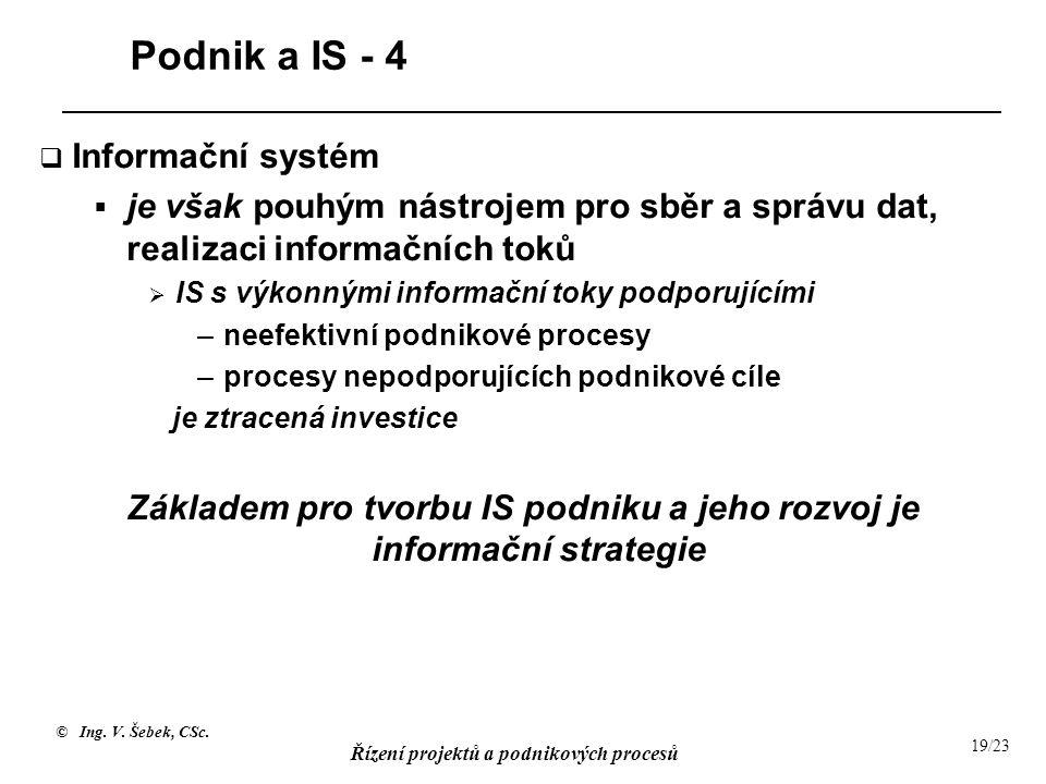 © Ing. V. Šebek, CSc. Řízení projektů a podnikových procesů 19/23 Podnik a IS - 4  Informační systém  je však pouhým nástrojem pro sběr a správu dat