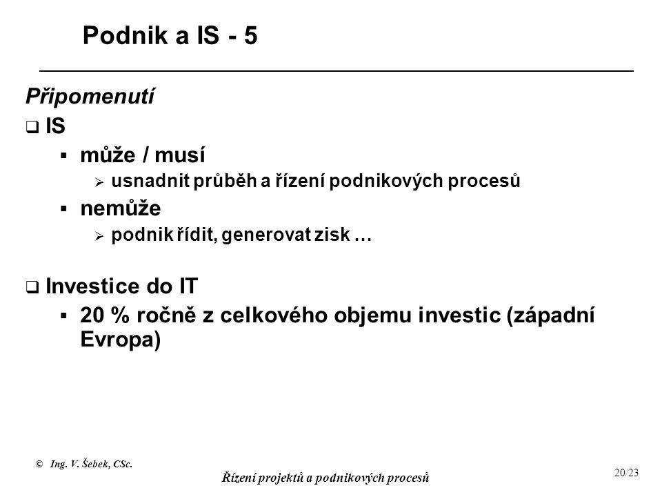 © Ing. V. Šebek, CSc. Řízení projektů a podnikových procesů 20/23 Podnik a IS - 5 Připomenutí  IS  může / musí  usnadnit průběh a řízení podnikovýc