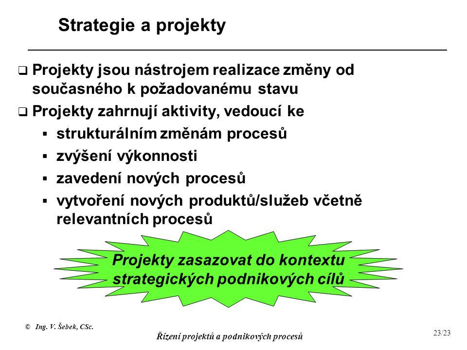 © Ing. V. Šebek, CSc. Řízení projektů a podnikových procesů 23/23 Strategie a projekty  Projekty jsou nástrojem realizace změny od současného k požad