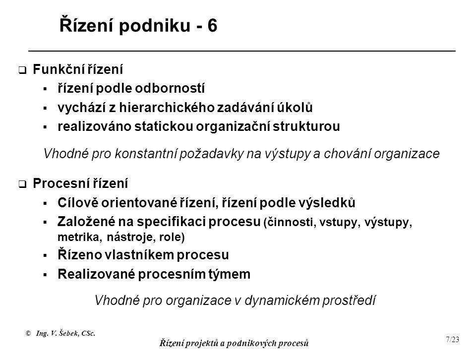 © Ing. V. Šebek, CSc. Řízení projektů a podnikových procesů 7/23 Řízení podniku - 6  Funkční řízení  řízení podle odborností  vychází z hierarchick