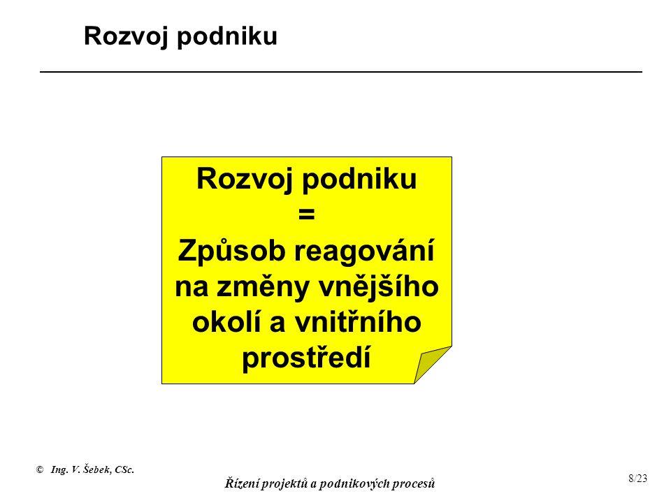 © Ing. V. Šebek, CSc. Řízení projektů a podnikových procesů 8/23 Rozvoj podniku = Způsob reagování na změny vnějšího okolí a vnitřního prostředí