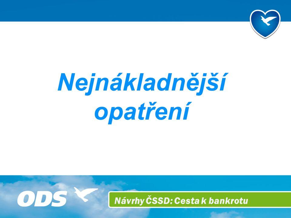 Návrhy ČSSD: Cesta k bankrotu Nejnákladnější opatření