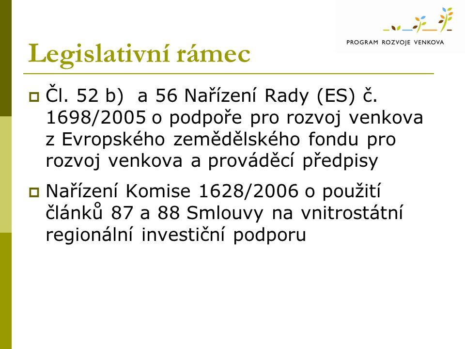 Legislativní rámec  Čl. 52 b) a 56 Nařízení Rady (ES) č. 1698/2005 o podpoře pro rozvoj venkova z Evropského zemědělského fondu pro rozvoj venkova a