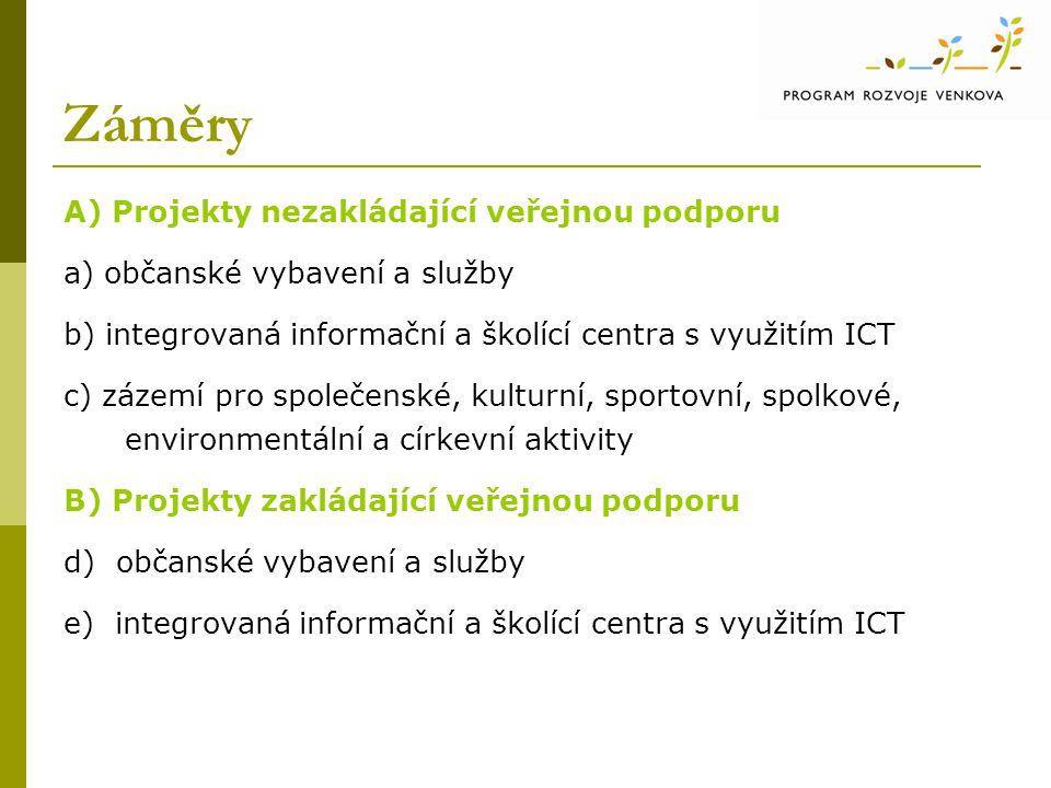 Záměry A) Projekty nezakládající veřejnou podporu a) občanské vybavení a služby b) integrovaná informační a školící centra s využitím ICT c) zázemí pro společenské, kulturní, sportovní, spolkové, environmentální a církevní aktivity B) Projekty zakládající veřejnou podporu d) občanské vybavení a služby e) integrovaná informační a školící centra s využitím ICT