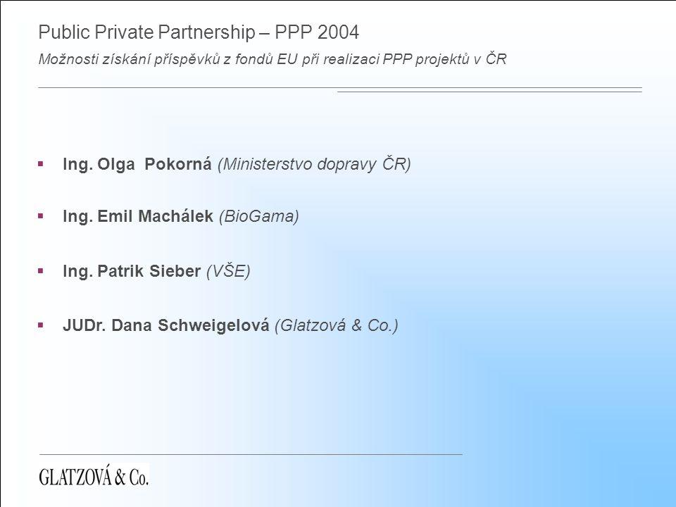 Public Private Partnership – PPP 2004 Možnosti získání příspěvků z fondů EU při realizaci PPP projektů v ČR Fondy EU Strukturální fondy  Evropský fond regionálního rozvoje  Evropský sociální fond  Evropský zemědělský usměrňovací a záruční fond  Finanční nástroje na podporu rybolovu Kohezní fond (Fond soudržnosti)