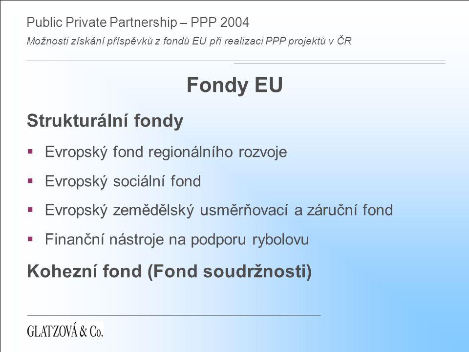 Public Private Partnership – PPP 2004 Možnosti získání příspěvků z fondů EU při realizaci PPP projektů v ČR Strukturální fondy  Operační programy (OP): 1.Společný Regionální OP (454 mil.