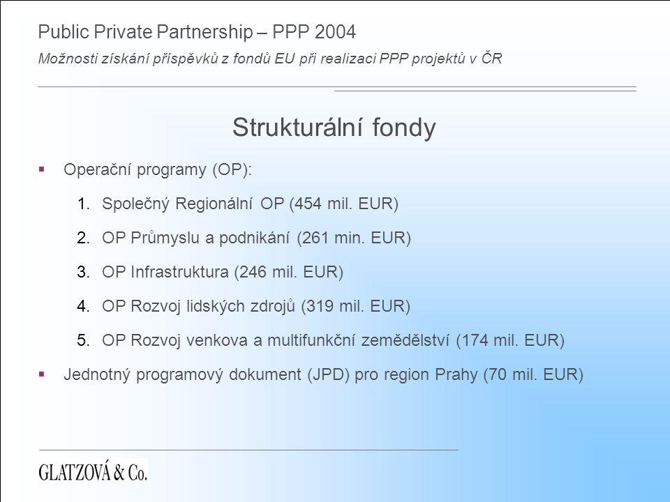 Public Private Partnership – PPP 2004 Možnosti získání příspěvků z fondů EU při realizaci PPP projektů v ČR Strukturální fondy  Operační programy (OP