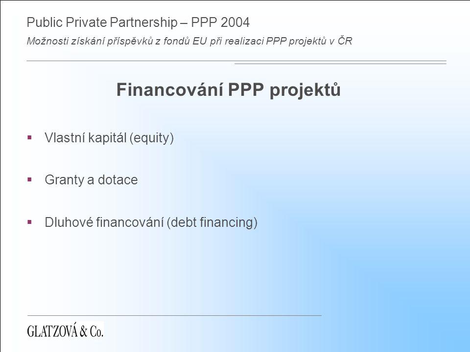 Public Private Partnership – PPP 2004 Možnosti získání příspěvků z fondů EU při realizaci PPP projektů v ČR Financování PPP projektů  Vlastní kapitál