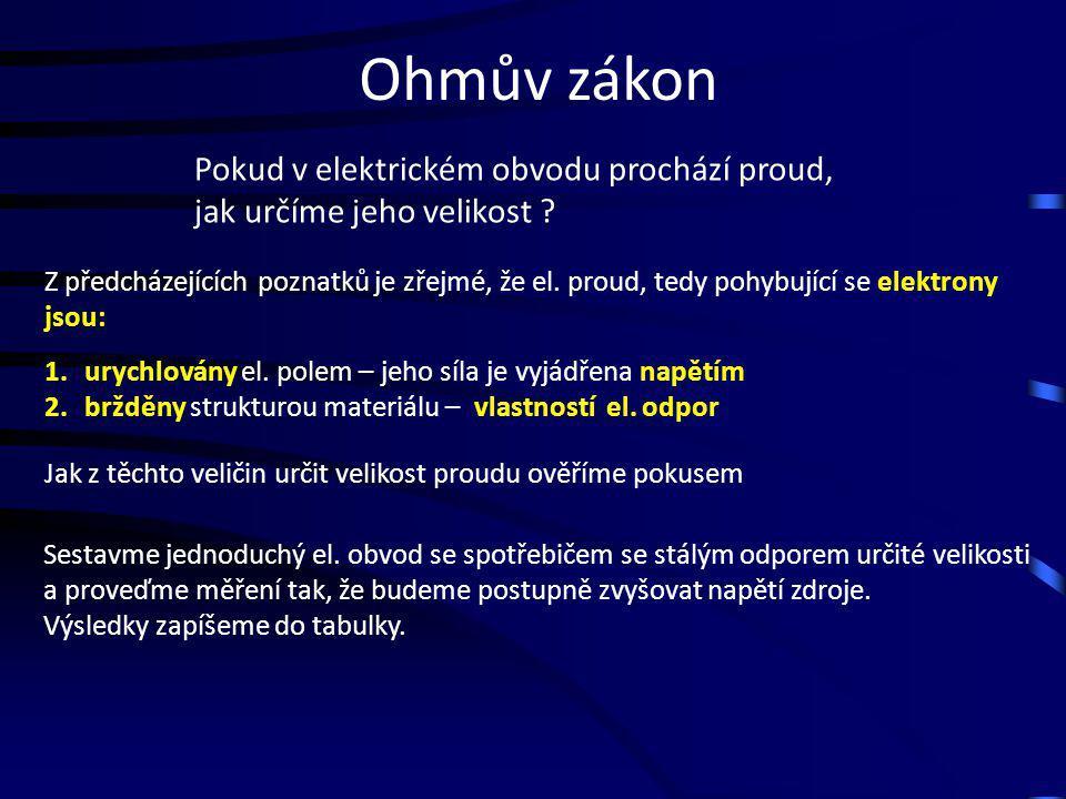 Ohmův zákon Pokud v elektrickém obvodu prochází proud, jak určíme jeho velikost ? Z předcházejících poznatků je zřejmé, že el. proud, tedy pohybující