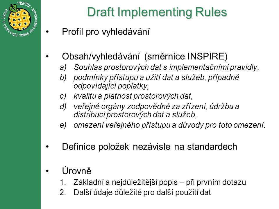 Draft Implementing Rules Profil pro vyhledávání Obsah/vyhledávání (směrnice INSPIRE) a)Souhlas prostorových dat s implementačními pravidly, b)podmínky