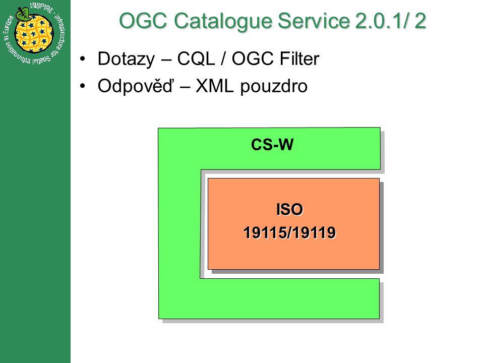 OGC Catalogue Service 2.0.1/ 2 CS-W Dublin Core FGDCISO19115/19119 Dotazy – CQL / OGC Filter Odpověď – XML pouzdro