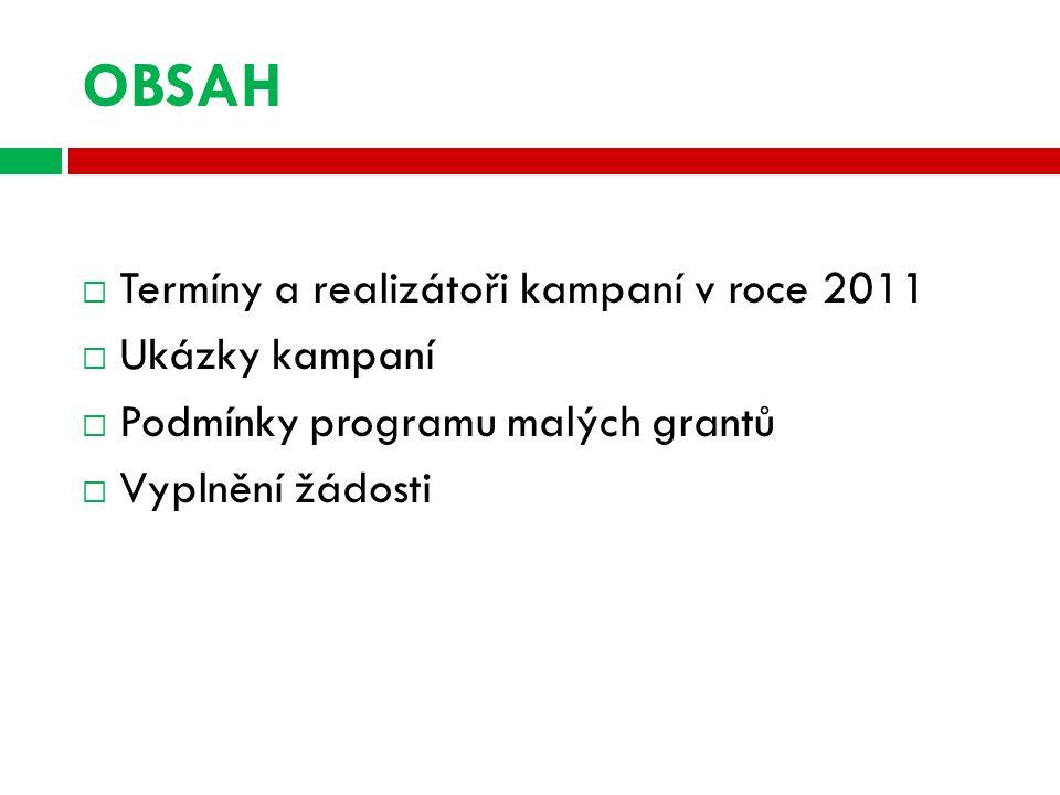 OBSAH  Termíny a realizátoři kampaní v roce 2011  Ukázky kampaní  Podmínky programu malých grantů  Vyplnění žádosti