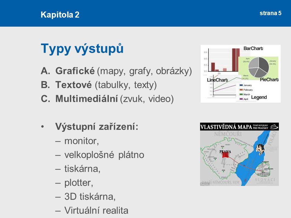 strana 5 Typy výstupů A.Grafické (mapy, grafy, obrázky) B.Textové (tabulky, texty) C.Multimediální (zvuk, video) Výstupní zařízení: –monitor, –velkoplošné plátno –tiskárna, –plotter, –3D tiskárna, –Virtuální realita Kapitola 2