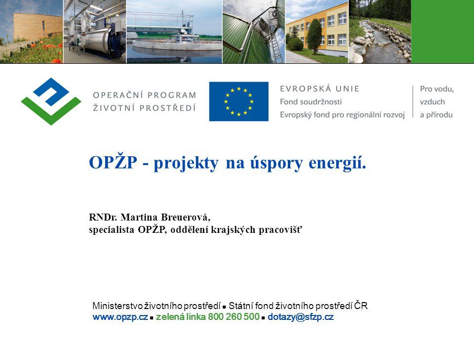 Ministerstvo životního prostředí Státní fond životního prostředí ČR www.opzp.cz zelená linka 800 260 500 dotazy@sfzp.cz OPŽP - projekty na úspory ener