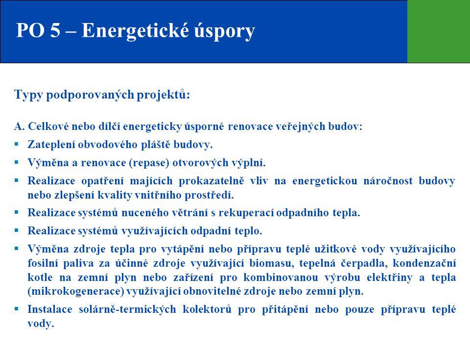 PO 5 – Energetické úspory Typy podporovaných projektů: A. Celkové nebo dílčí energeticky úsporné renovace veřejných budov:  Zateplení obvodového pláš