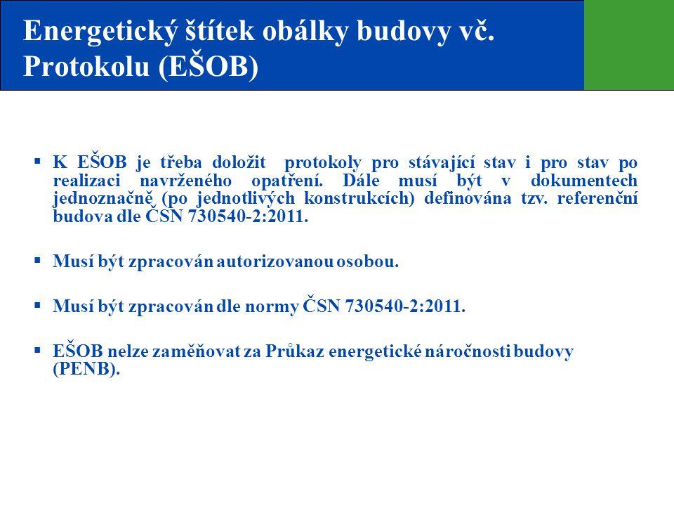 Energetický štítek obálky budovy vč. Protokolu (EŠOB)  K EŠOB je třeba doložit protokoly pro stávající stav i pro stav po realizaci navrženého opatře