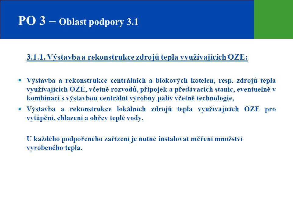 PO 3 – Oblast podpory 3.1  3.1.1. Výstavba a rekonstrukce zdrojů tepla využívajících OZE:   Výstavba a rekonstrukce centrálních a blokových kotelen