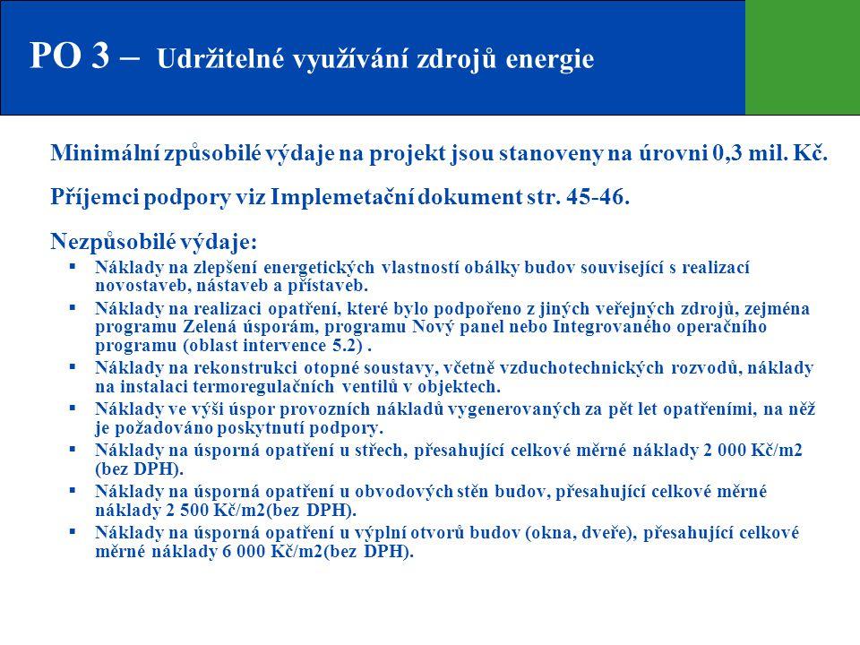 PO 3 – Udržitelné využívání zdrojů energie Minimální způsobilé výdaje na projekt jsou stanoveny na úrovni 0,3 mil. Kč. Příjemci podpory viz Implemetač