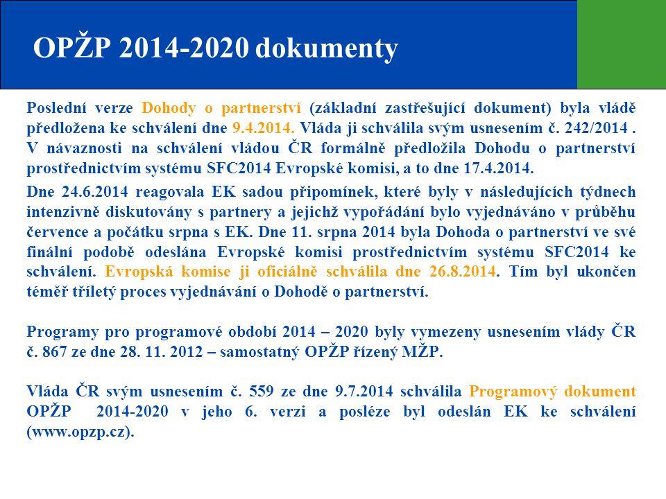 OPŽP 2014-2020 dokumenty Poslední verze Dohody o partnerství (základní zastřešující dokument) byla vládě předložena ke schválení dne 9.4.2014. Vláda j