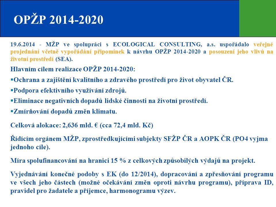 OPŽP 2014-2020 19.6.2014 - MŽP ve spolupráci s ECOLOGICAL CONSULTING, a.s. uspořádalo veřejné projednání včetně vypořádání připomínek k návrhu OPŽP 20