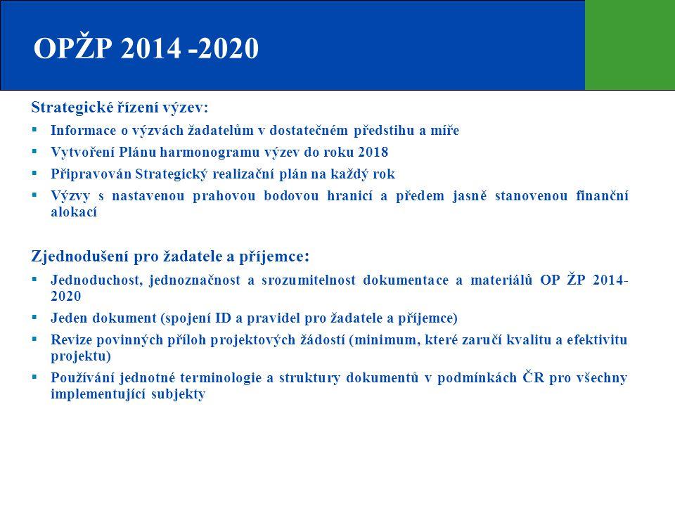 OPŽP 2014 -2020 Strategické řízení výzev:  Informace o výzvách žadatelům v dostatečném předstihu a míře  Vytvoření Plánu harmonogramu výzev do roku