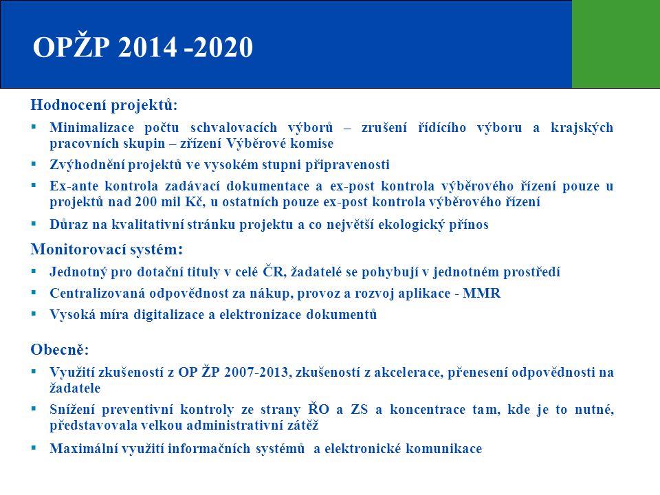 OPŽP 2014 -2020 Hodnocení projektů:  Minimalizace počtu schvalovacích výborů – zrušení řídícího výboru a krajských pracovních skupin – zřízení Výběro